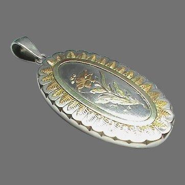 Large Antique Victorian Sterling Silver Bi Color Gold Flower Locket Pendant