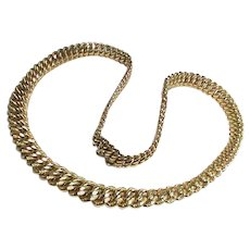 Vintage French Murat 18k 18ct Gold Plated Double Curb Necklace
