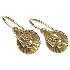 Small Vintage French 18k 18ct Gold Earrings