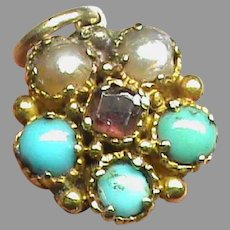 Antique Georgian tiny 15k 15ct Gold Seed Pearl, Turquoise & Garnet Mourning Locket PANSY Charm