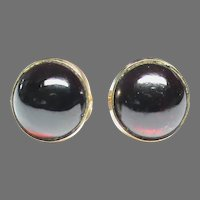 Vintage 9k 9ct Gold Garnet Stud Earrings