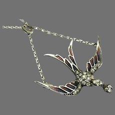 Antique French Silver Plique a Jour Enamel Swallow Bird paste Pendant Necklace