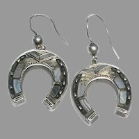 Large Antique Victorian Sterling Silver Scottish Agate Horseshoe Earrings