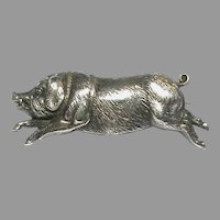 Big Antique Victorian Sterling Silver Pig Boar Brooch