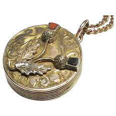 Antique Victorian Gold Plated Agate Thistle Locket & chain