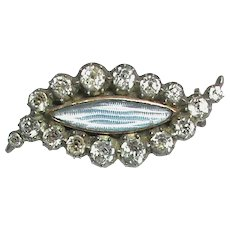 Antique Georgian Sterling Silver Black Dot Paste EYE Mourning Brooch with gold back