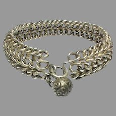 Antique French Silver 800-900 Bracelet with ball charm