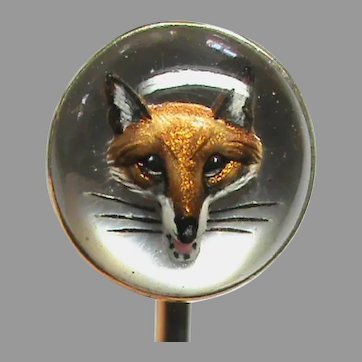 Antique Victorian 15k 15ct Gold Essex Crystal FOX Stickpin in Box