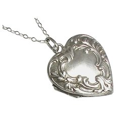 Antique French Art Nouveau Silver 800-900 Heart Locket on sterling chain