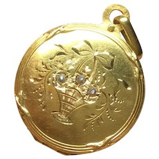 Antique Edwardian French 18k 18ct Gold Seed Pearl Locket