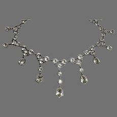 Antique c1900 Sterling Silver Paste Necklace