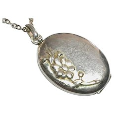 Antique Art Nouveau French Silver 800-900 Locket & Sterling Chain