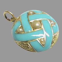 Antique Victorian 15k 15ct Gold Enamel Seed Pearl Locket Pendant