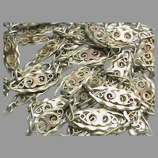 "Antique French Silver 800-900 Long Guard Chain Necklace 55"" with GOLD Decor"