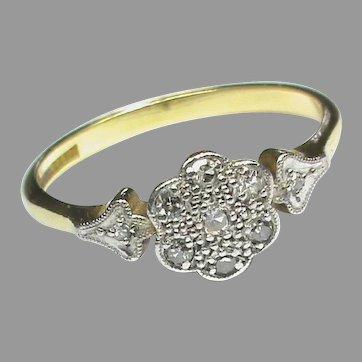 Vintage Art Deco 18k 18ct Gold Platinum Diamond Daisy Ring