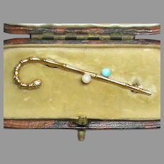 Antique Edwardian 15k 15ct Gold Turquoise & Seed Pearl Walking Stick Brooch in fitted Box