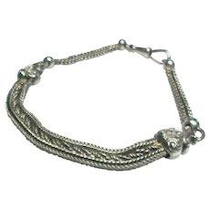 Antique Victorian Sterling Silver Albertina Watch Chain Bracelet
