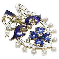 QUALITY 18k 18ct Gold Enamel Diamond Pearl Pendant
