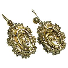 Antique Victorian Sterling Silver gilt Earrings