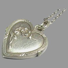 Small Antique French Silver 800-900 Heart Locket on chain