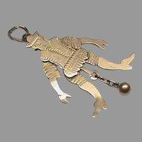 Antique Victorian 9k 9ct Gold Dancing Jester Novelty Pendant