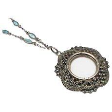 Antique Edwardian Sterling Silver Enamel & Marcasite Locket Pendant Necklace