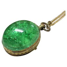 Antique Victorian gilt metal crackled green glass oval Ball Locket & chain