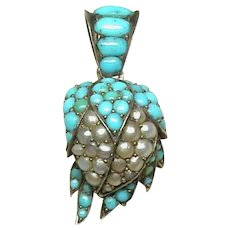 Antique Victorian Sterling Silver Turquoise & Seed Pearl Strawberry Pendant