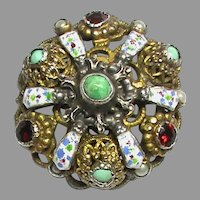 Antique Austro Hungarian Silver gilt Enamel Garnet Turquoise & Seed Pearl Brooch
