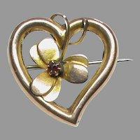 Antique Edwardian Chester 1903 9k 9ct Gold Garnet Heart Brooch