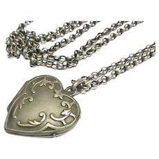 Antique French Art Nouveau Silver 800-900 Heart Locket Pendant on Long silver chain