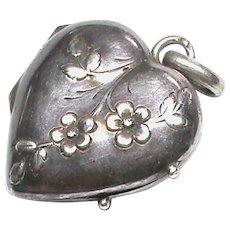 Antique Art Nouveau Silver Heart Locket Pendant