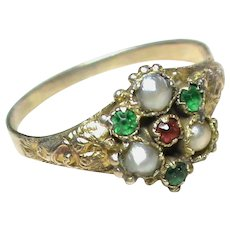 Antique Georgian 9k 9ct Gold Paste & Seed Pearl Ring with secret locket compartment