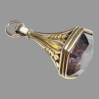 Large Quality 19th Century 9k 9ct Gold AMETHYST Seal Pendant