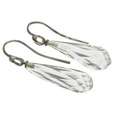 Antique Art Deco Sterling Silver Rock Crystal Dangle Earrings c1920