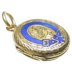 Antique Victorian 15k 15ct Gold Blue Enamel Buckle Locket Charm or small Pendant