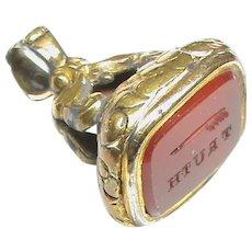 Antique Victorian Rebus WRITE TRUTH Intaglio Seal Fob
