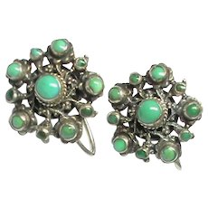Antique Arts & Crafts Sterling Silver Turquoise Screw Earrings
