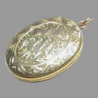 Antique Victorian 9k 9ct Gold Back & Front Locket with Lily of the Valley Flowers