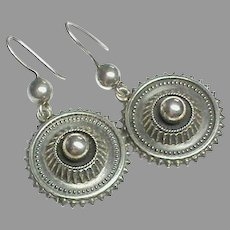 Substantial Antique Victorian Sterling Silver Earrings