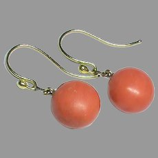 Antique Victorian 18k 18ct Gold CORAL Drop Earrings