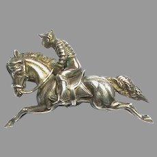 Antique c1884 Quality Sterling Silver Jockey Horse Rider Brooch