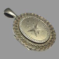 Antique Victorian Sterling Silver 1881 Locket Pendant