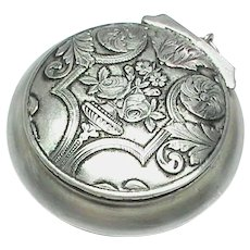 Antique French Silver 800-900 Chatelaine Pill Box