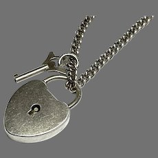 Vintage Sterling Silver WORKING Padlock & KEY Pendant on a chain