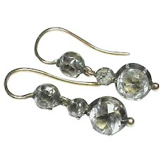 Antique Georgian Sterling Silver & Gold Rock Crystal Earrings