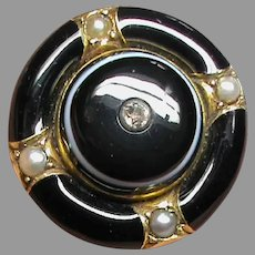 Antique Victorian 15k 15ct Gold Diamond Banded Agate & Seed Pearl Brooch