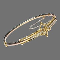 Antique Edwardian 9k 9ct Gold Seed Pearl Bangle