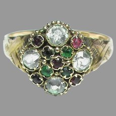 Antique Victorian 1872 12k 12ct Gold Rock Crystal & Paste Ring