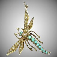 BIG Antique Victorian 15k 15ct Gold Turquoise & Seed Pearl Dragonfly Pendant